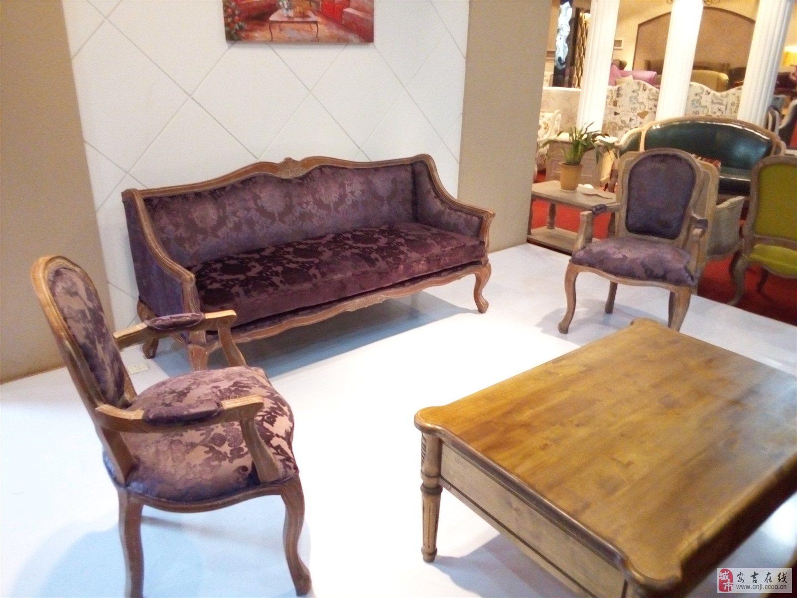 全新实木雕刻沙发7折