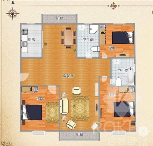 万景观邸3室2厅2卫70万元