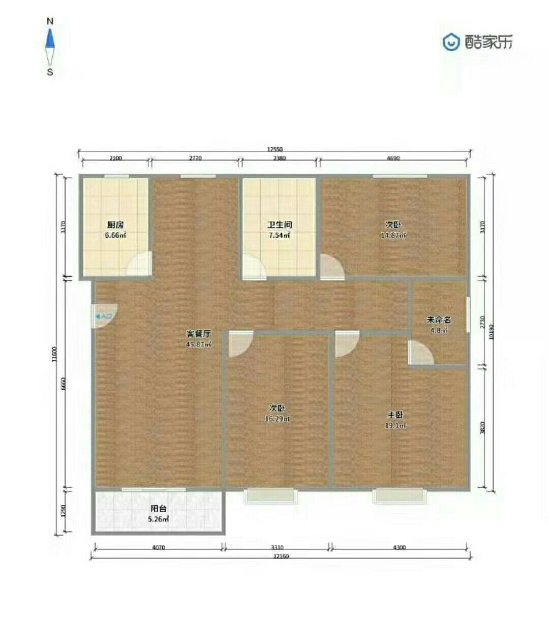 阳光花园3室2厅2卫58万元