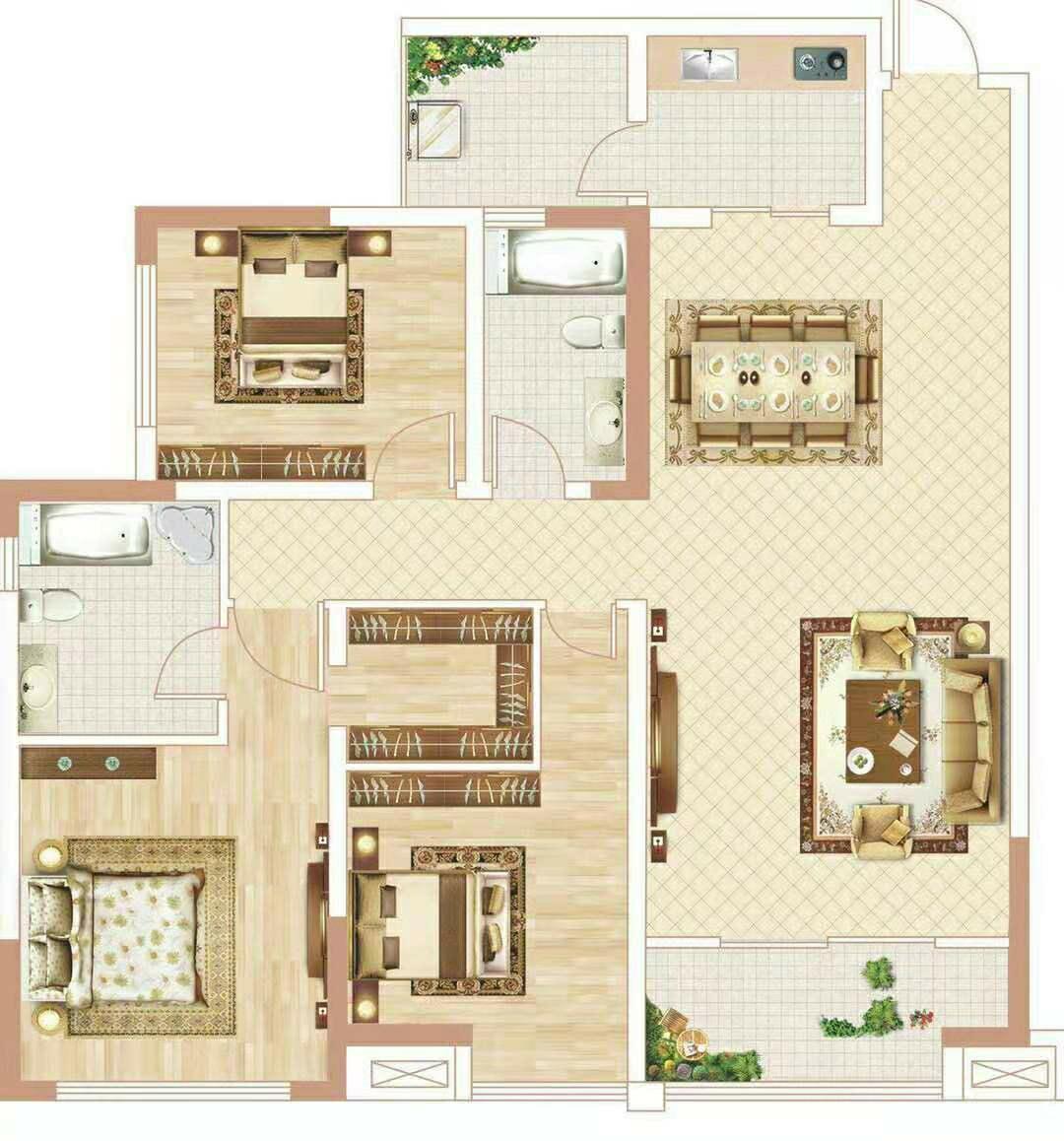 公园世家3室 2厅 2卫69.8万元