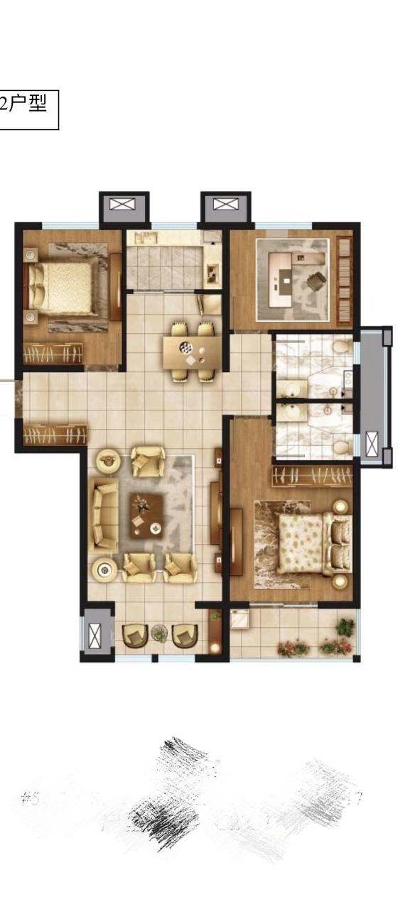 金月苑3室 2厅 1卫105万元
