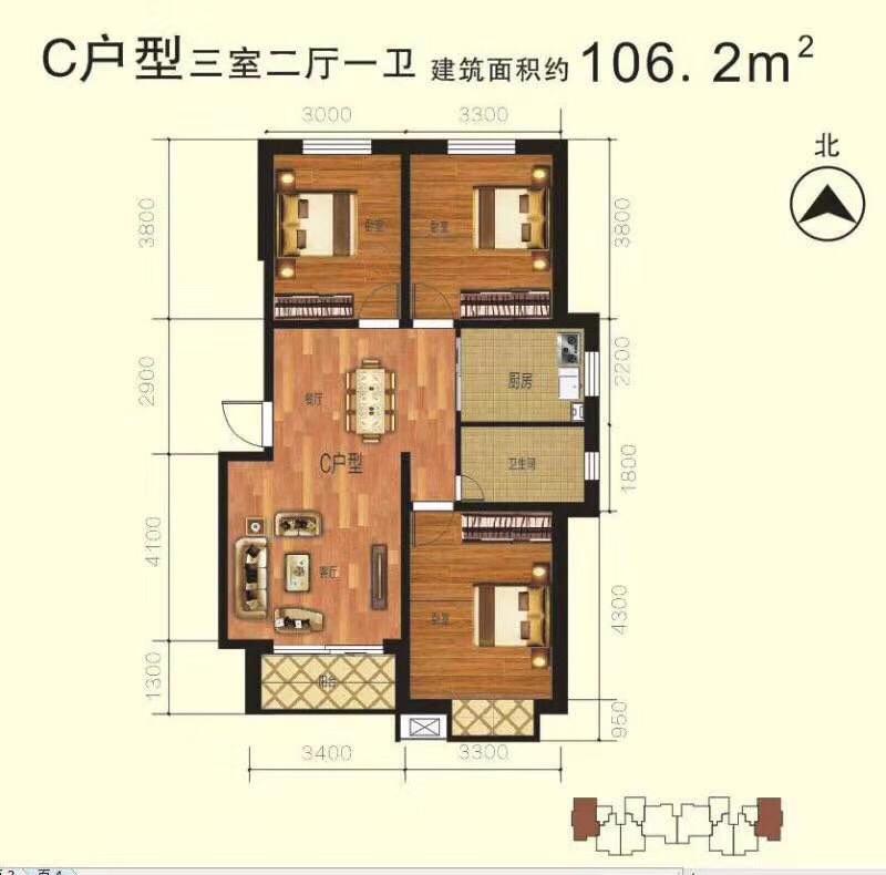 鑫瑞花园2室 2厅 1卫59万元