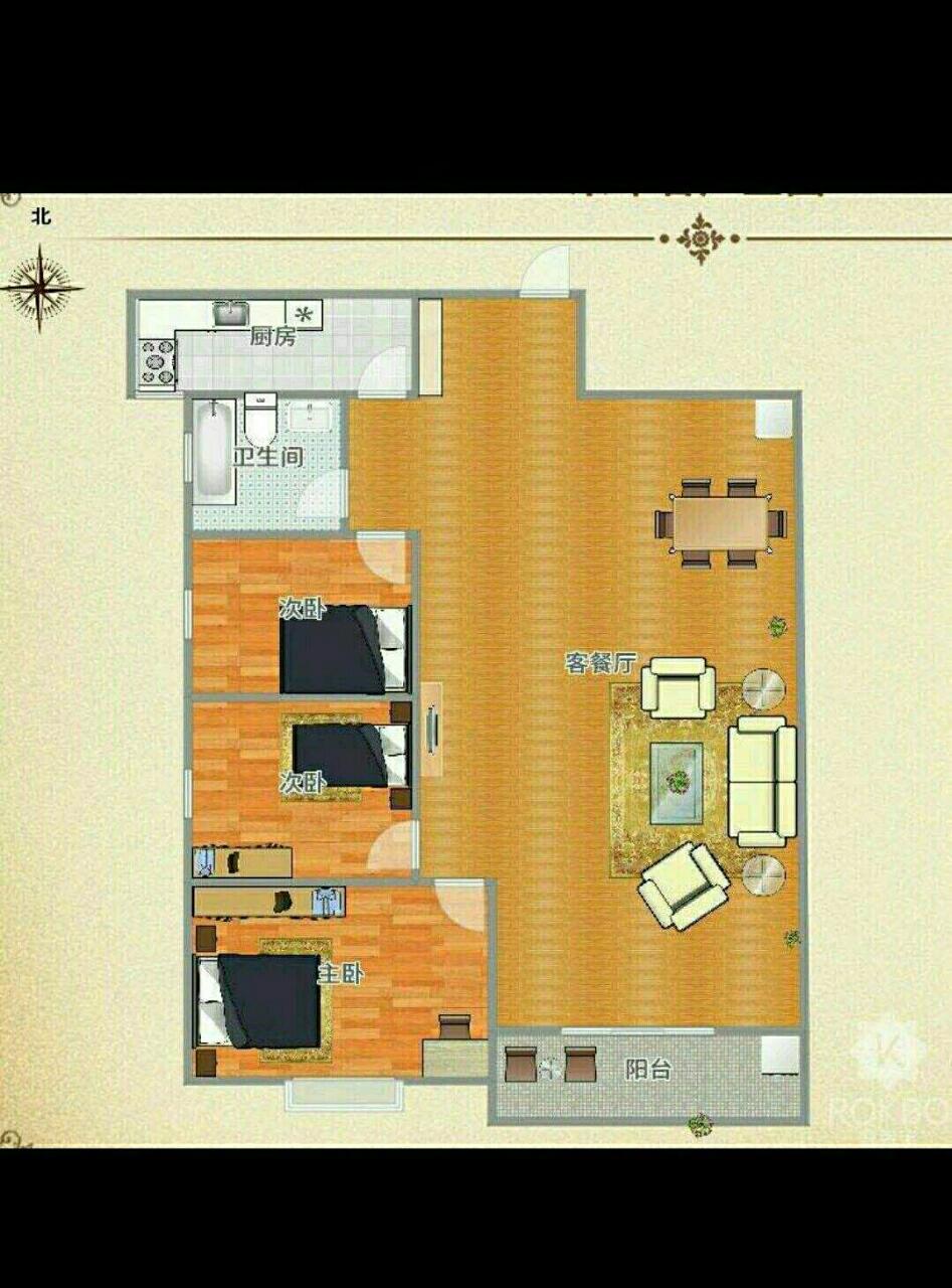 七彩世界2室 2厅 1卫34万元