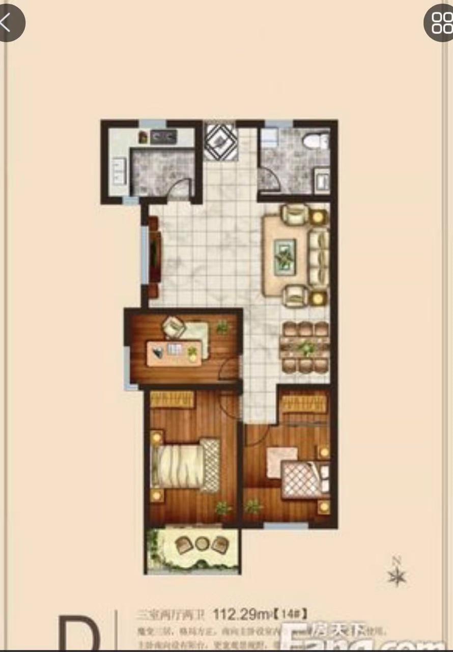 蓝波盛景2室 1厅 1卫