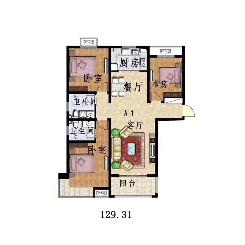 雅苑3室 2厅 2卫59万元