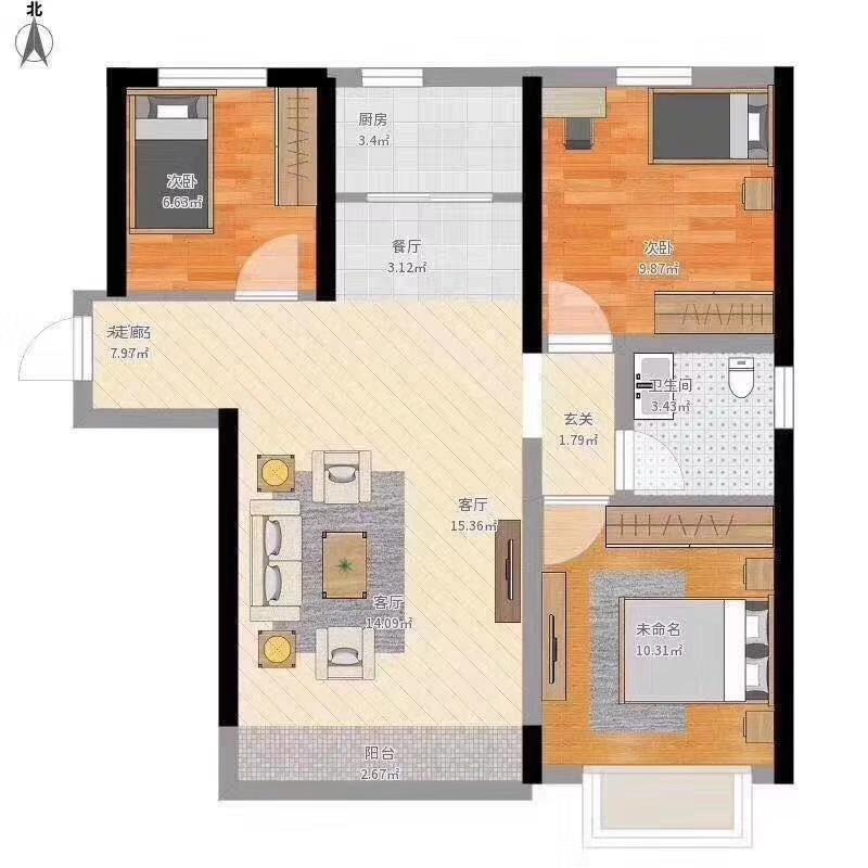 一小学区,西苑华庭3室 2厅 1卫99万元