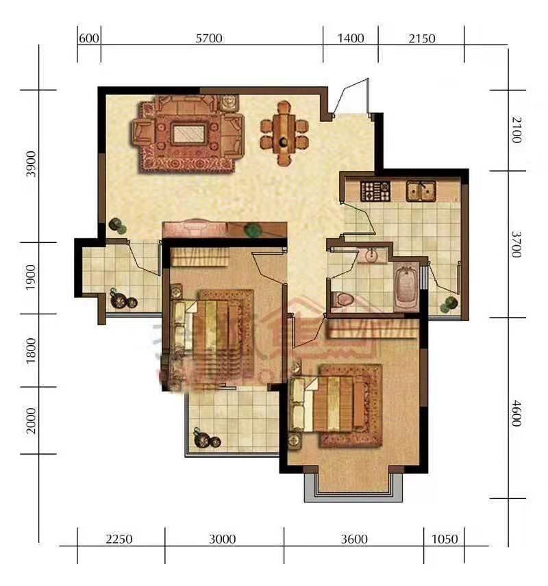 仁怀惠邦国际城3室 1厅 1卫71.8万元
