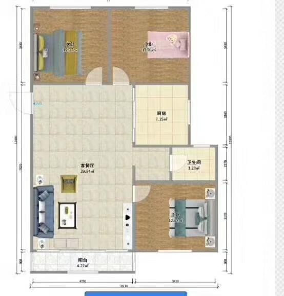 帝景水岸3室 2厅 1卫32万元