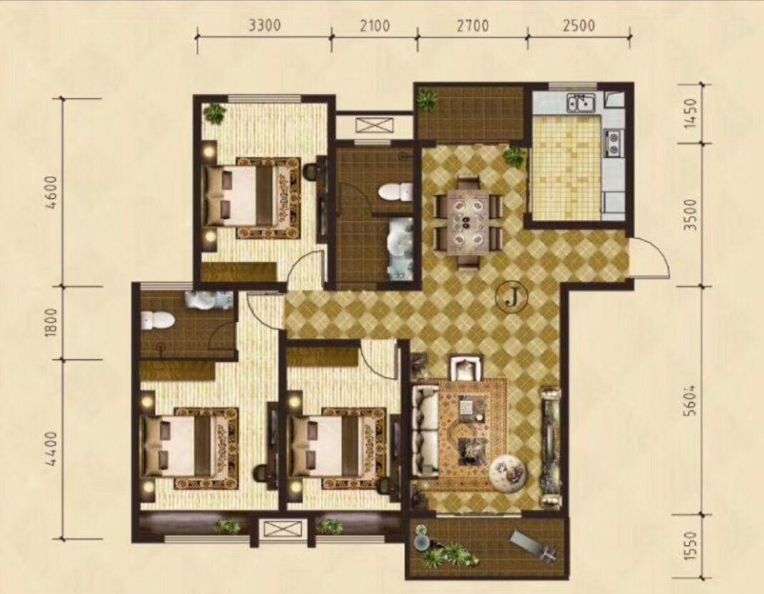 中泰锦城学区房3室 2厅 2卫95万元
