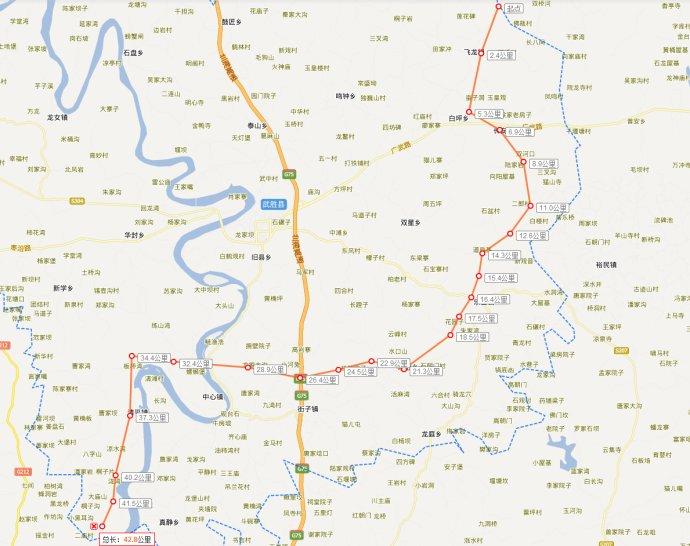 (三)建设规模 拟建项目推荐方案起始于岳武路武胜与岳池交界位置处,止于武胜县与重庆市合川区交界的棕湾村附近,路线全长42.14km,其中新建37.04km,利用岳武路改建5.10km。全线桥梁共4755m/31座,其中,嘉陵江特大桥873m/1座,大中桥3570m/18座,小桥312m/12座,桥梁总长占路线总长12.