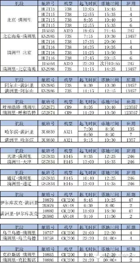 满洲里机场最新的换季航班时刻表