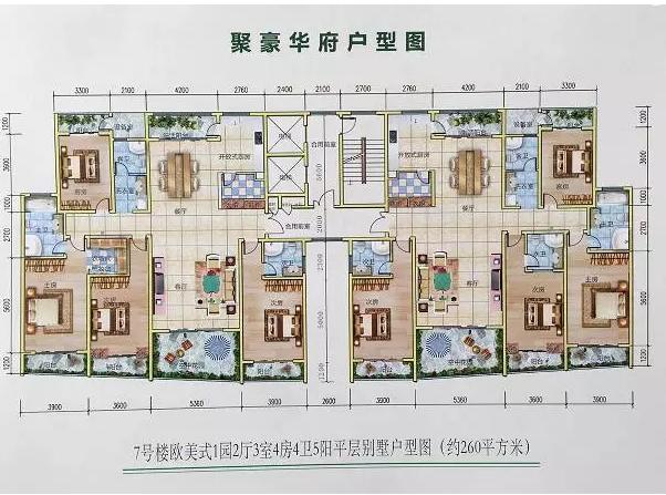 美式平层别墅户型图-一层平房带院子效果图,欧式一层,