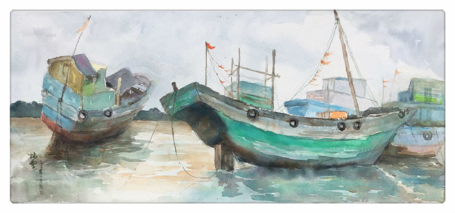 水彩风景写生渔船