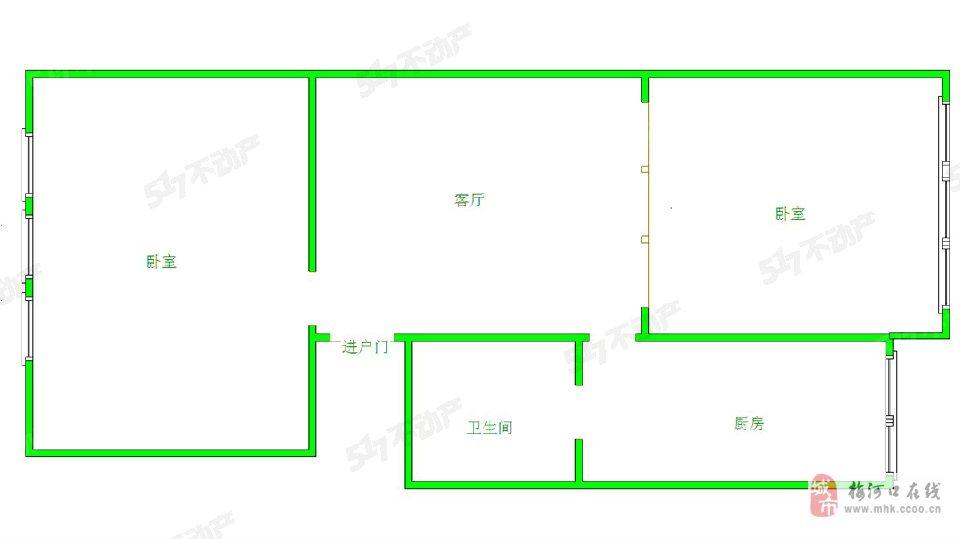 木工厂家属楼2室1厅1卫36.5万元