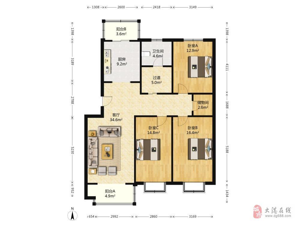 春港花园2楼,4层到顶洋房,三室通透落地窗,位置好。