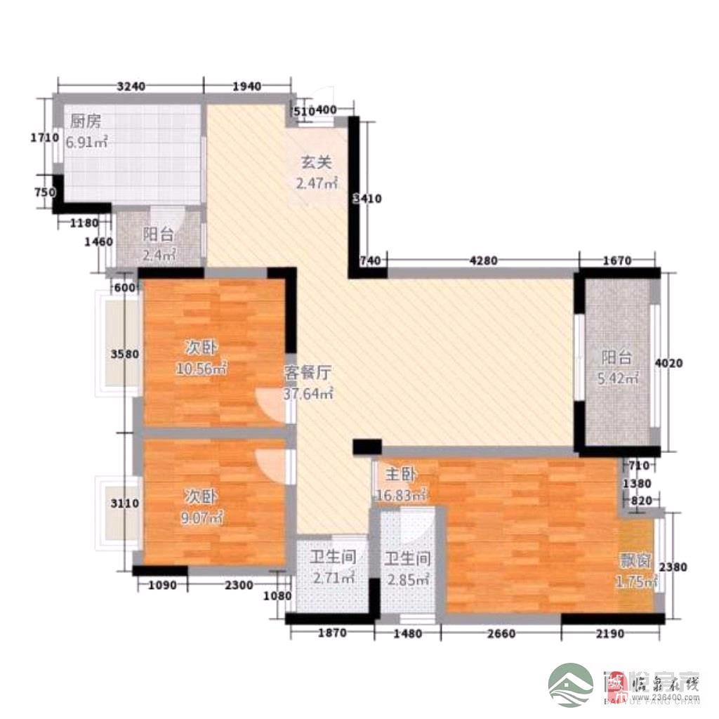 中泰锦城3室2厅1卫