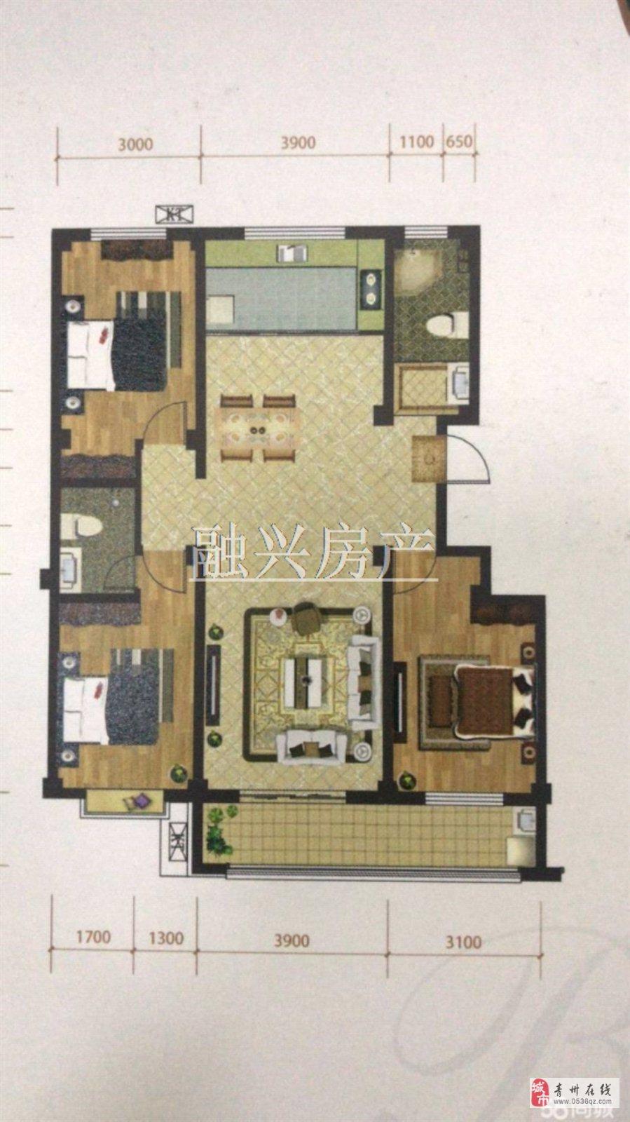普利斯花园138平带阁楼3室2厅2卫123万元