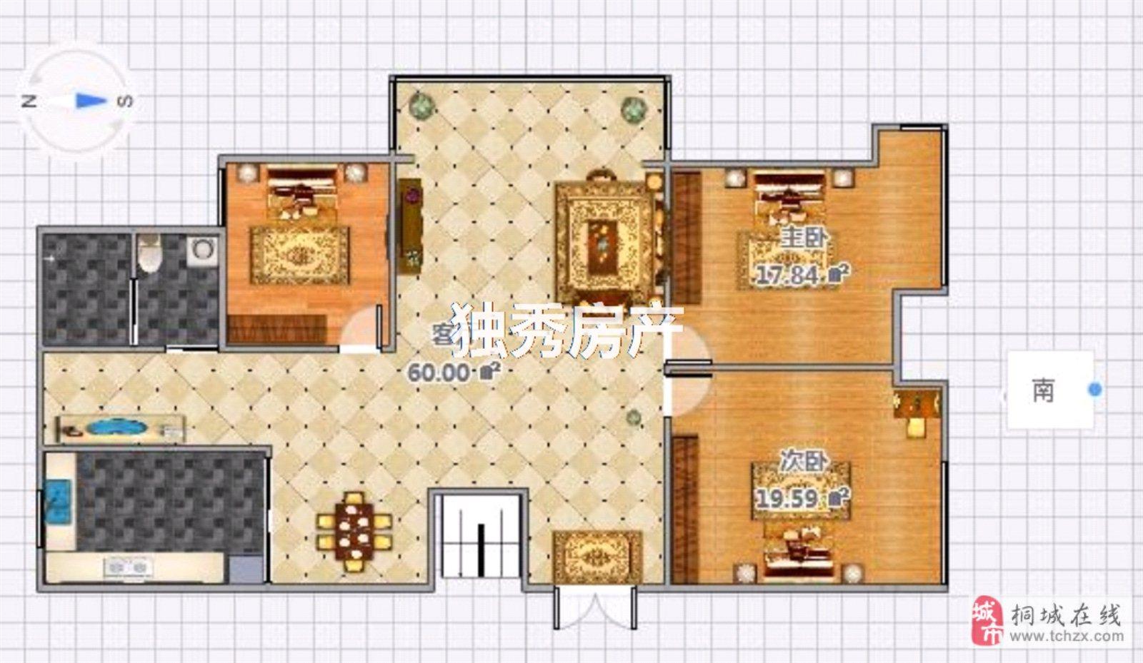 出售金瑞名城精装修3室2厅88万元近学校