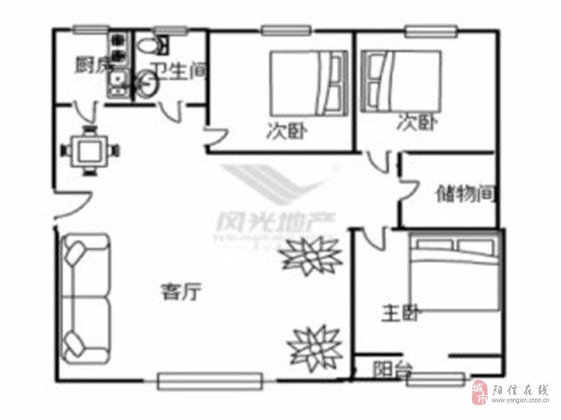 華龍家園3室2廳1衛66萬元