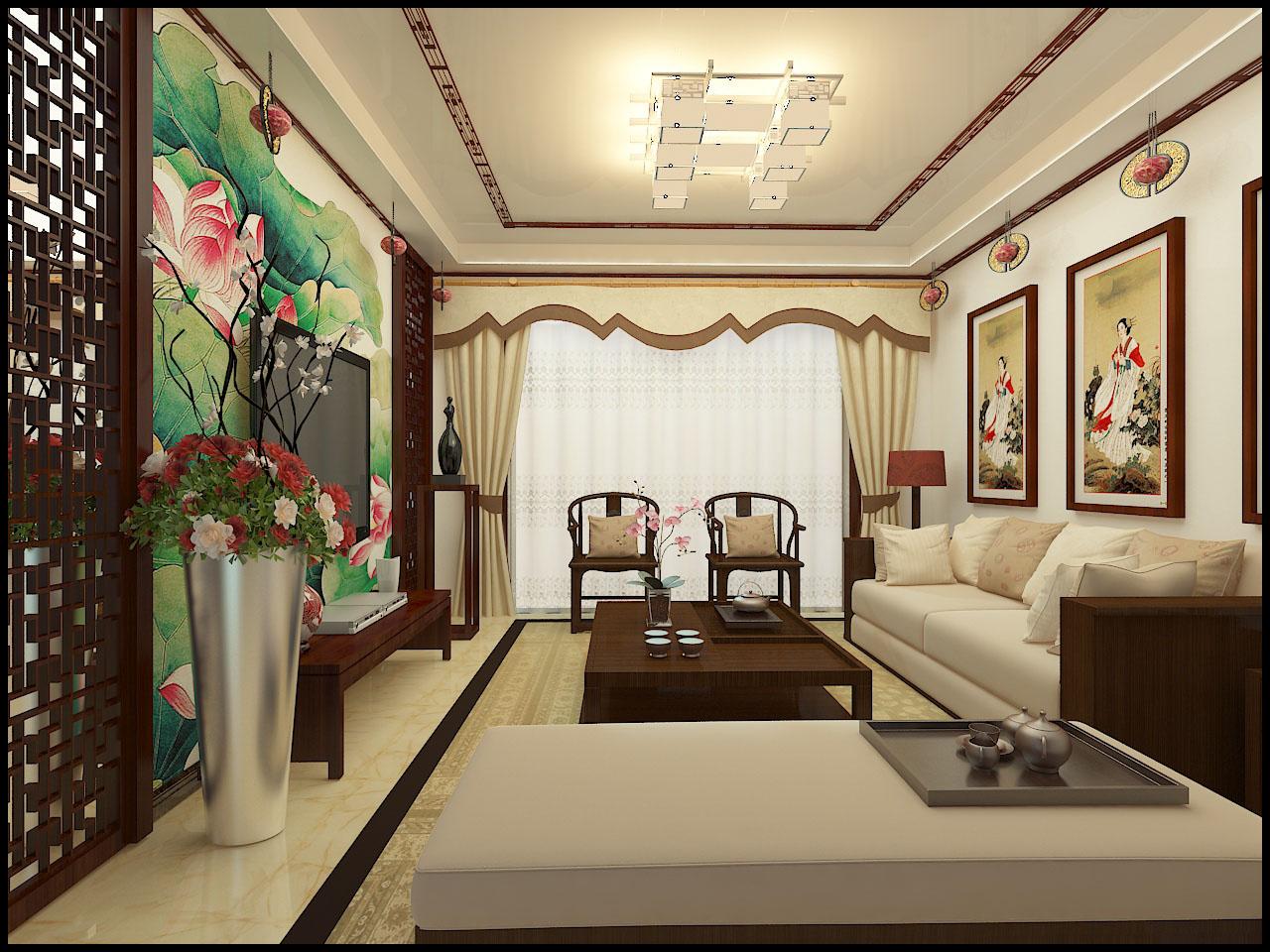 林都玉苑104中式装修-绘本蓝图室内设计