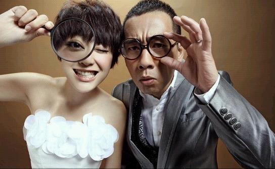 陈小春杨采妮搞怪结婚照