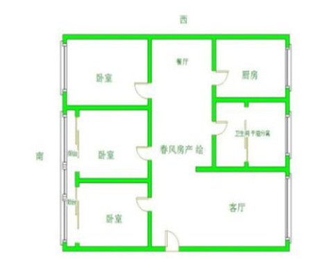 中京园3室 2厅 1卫86万元