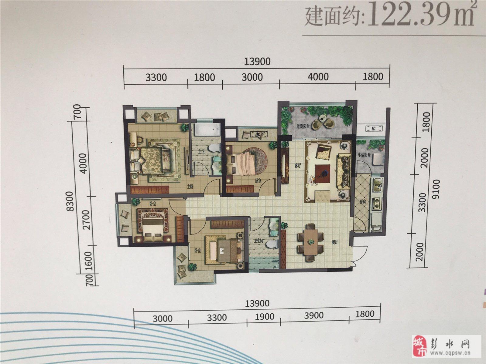 彭水新嶺域4室 2厅 2卫54万元