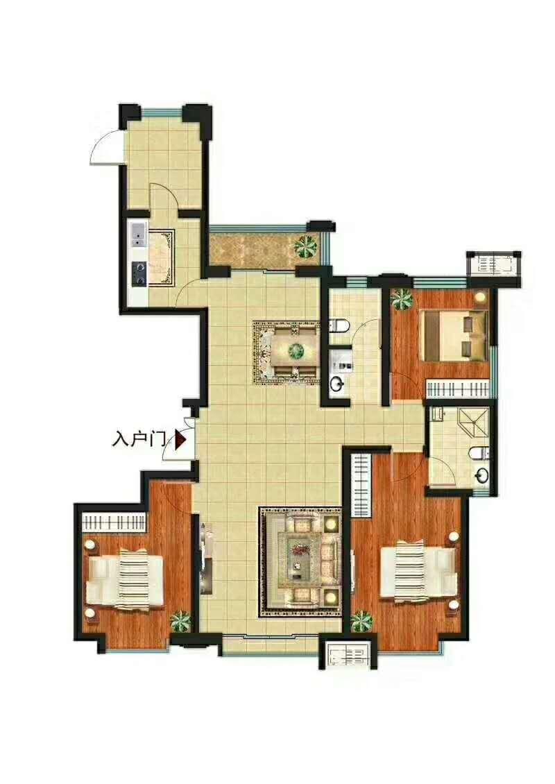 富力湖小区3室 2厅 2卫90万元