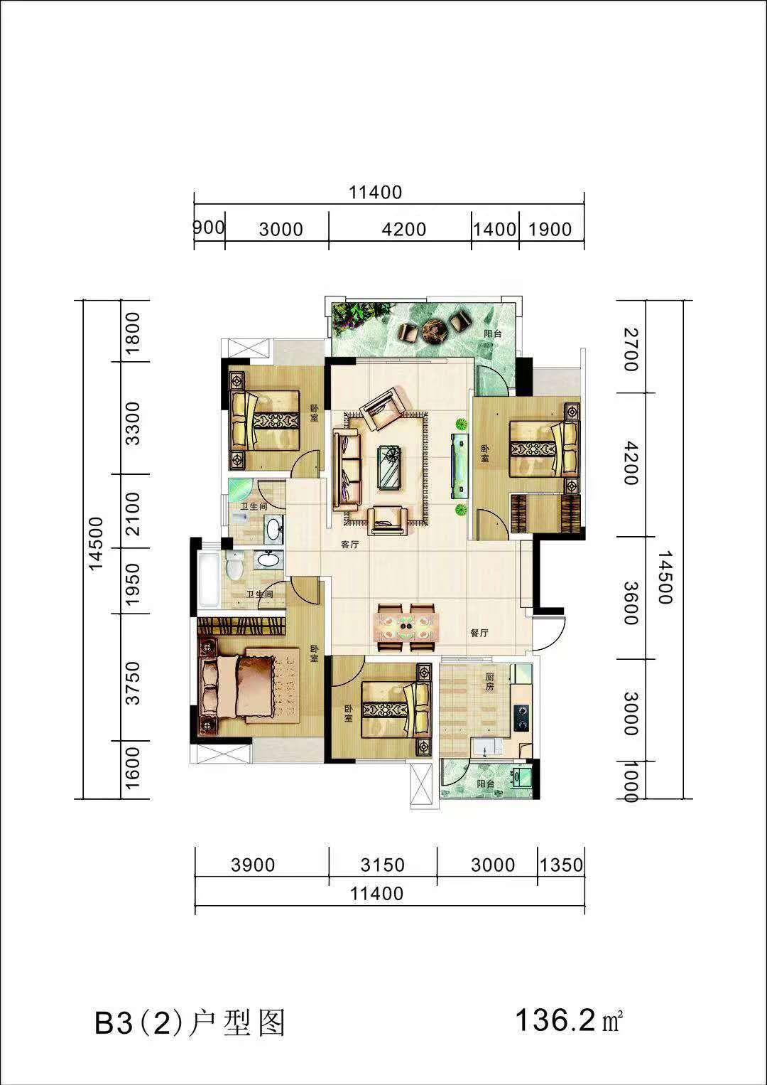 黄家坝3室 2厅 1卫31.8万元