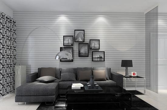 灰色常常和白色,黑色搭配,颜色弱化的环境更能凸显黑白家具的形态.