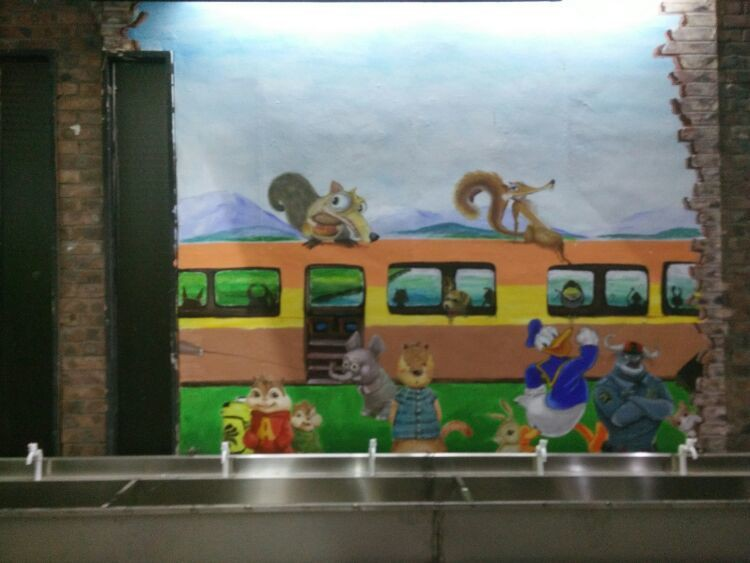 手绘3d火车绘画图片